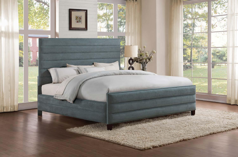 Homelegance Owena Upholstered Bed - Grey Velvet