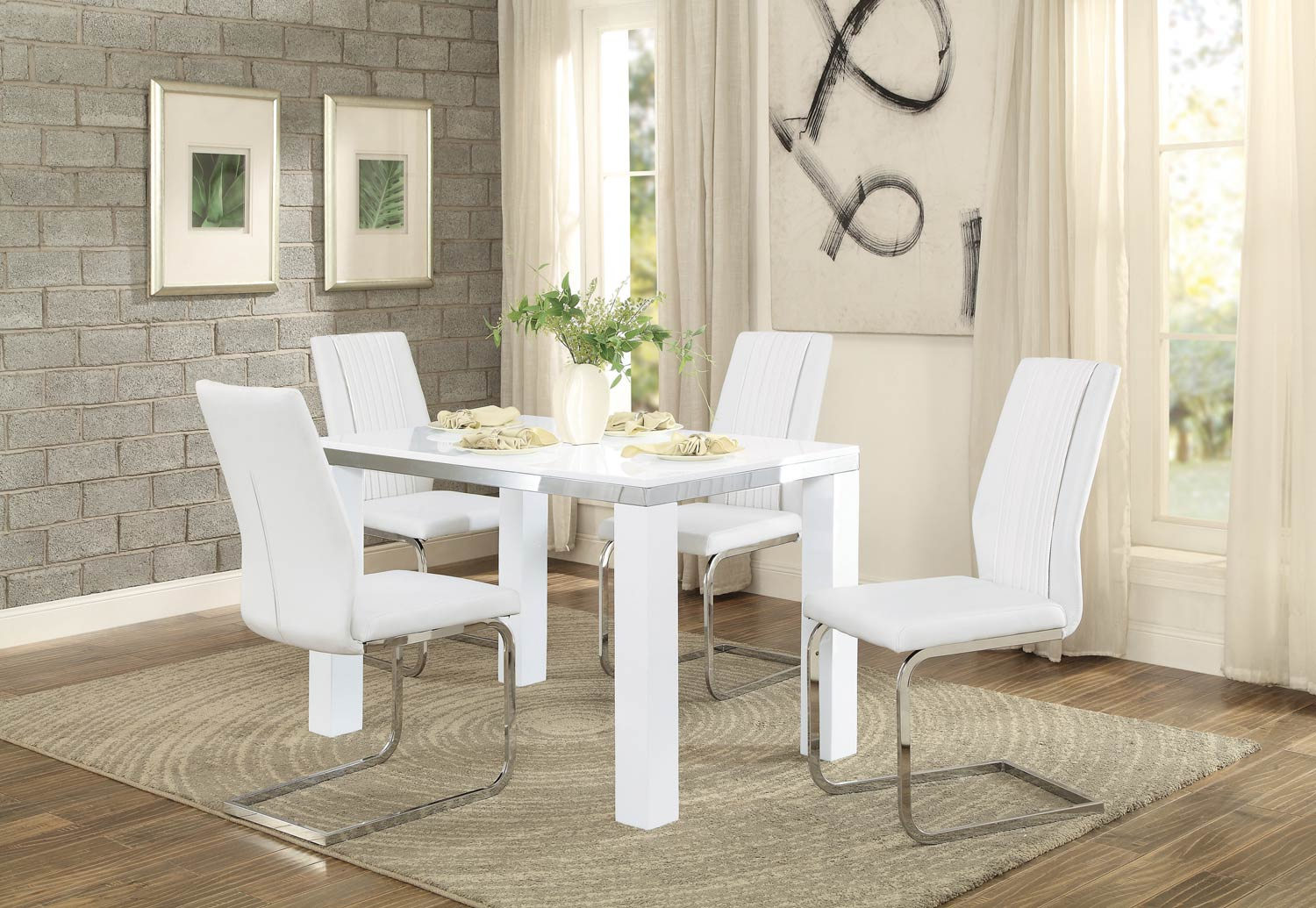 Homelegance Rohme Dining Set - Glossy White/Chrome