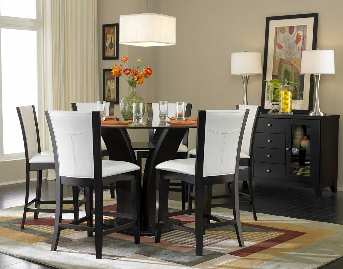 Homelegance daisy round glass top counter height dining set d710 36rd set at homelement com