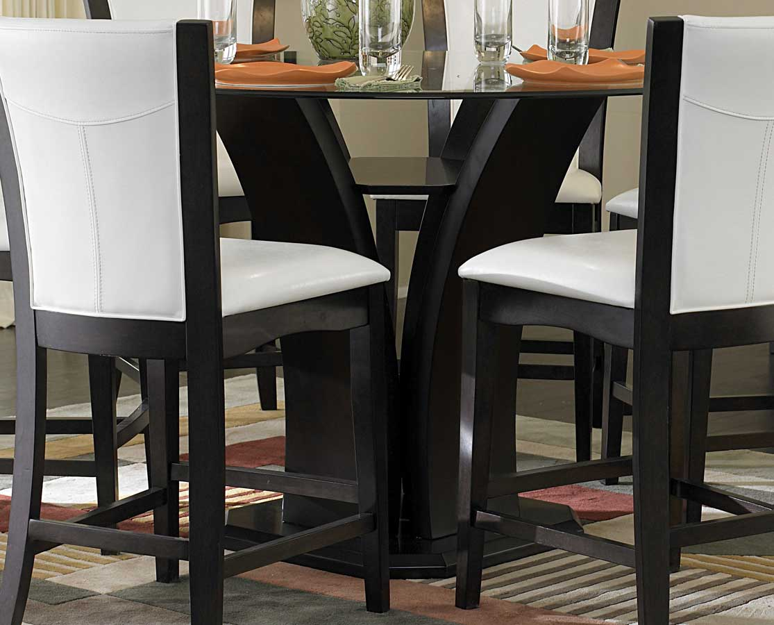 Countertop Height Round Table : Homelegance Daisy Round Glass Top Counter Height Dining Set D710-36RD ...