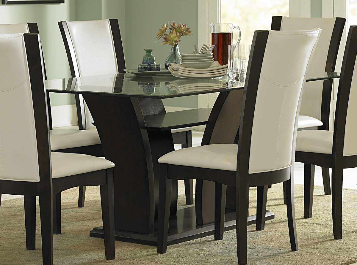Homelegance daisy rectangular glass dining set d710 72 at - Black dining room tables ...