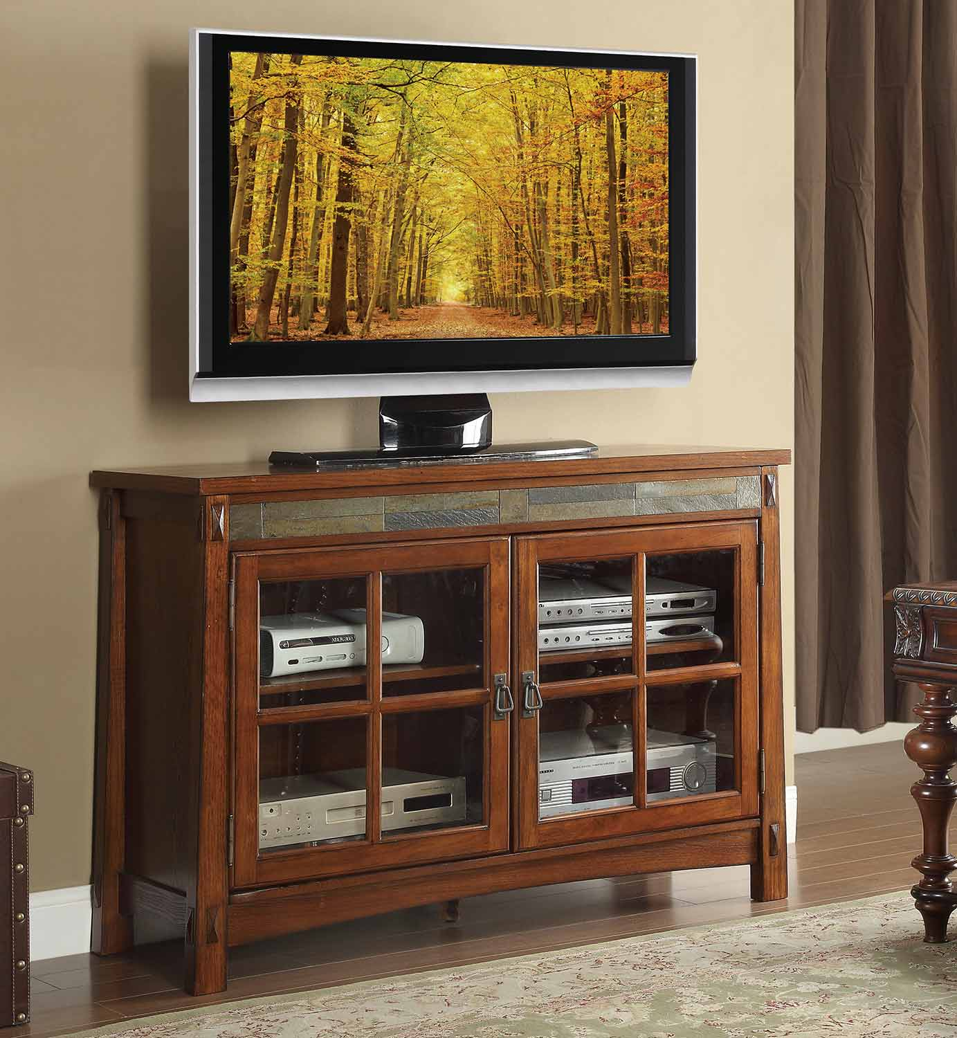 Homelegance Falls TV Stand - Brown Cherry