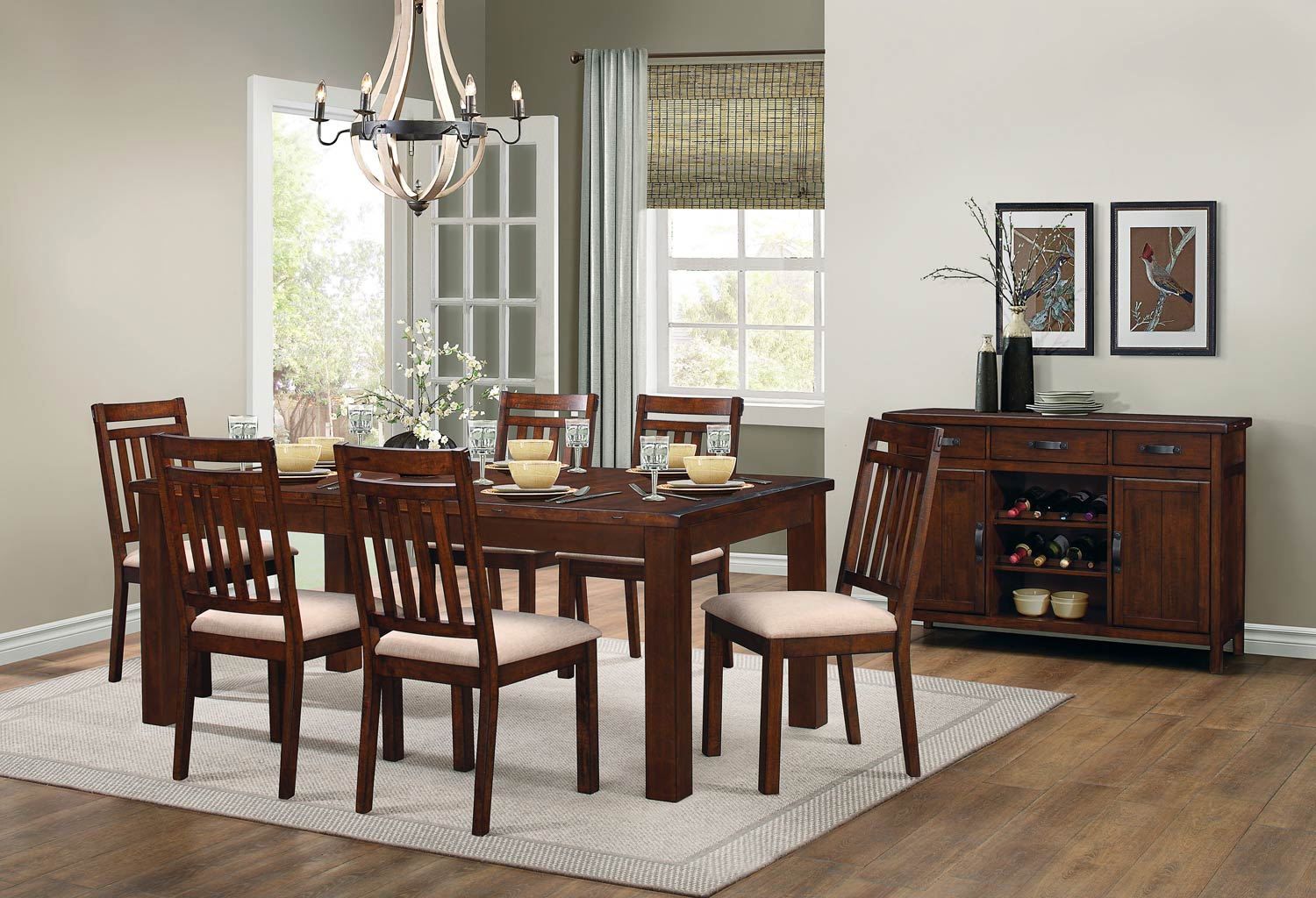 Homelegance Santos Dining Set - Natural Brown
