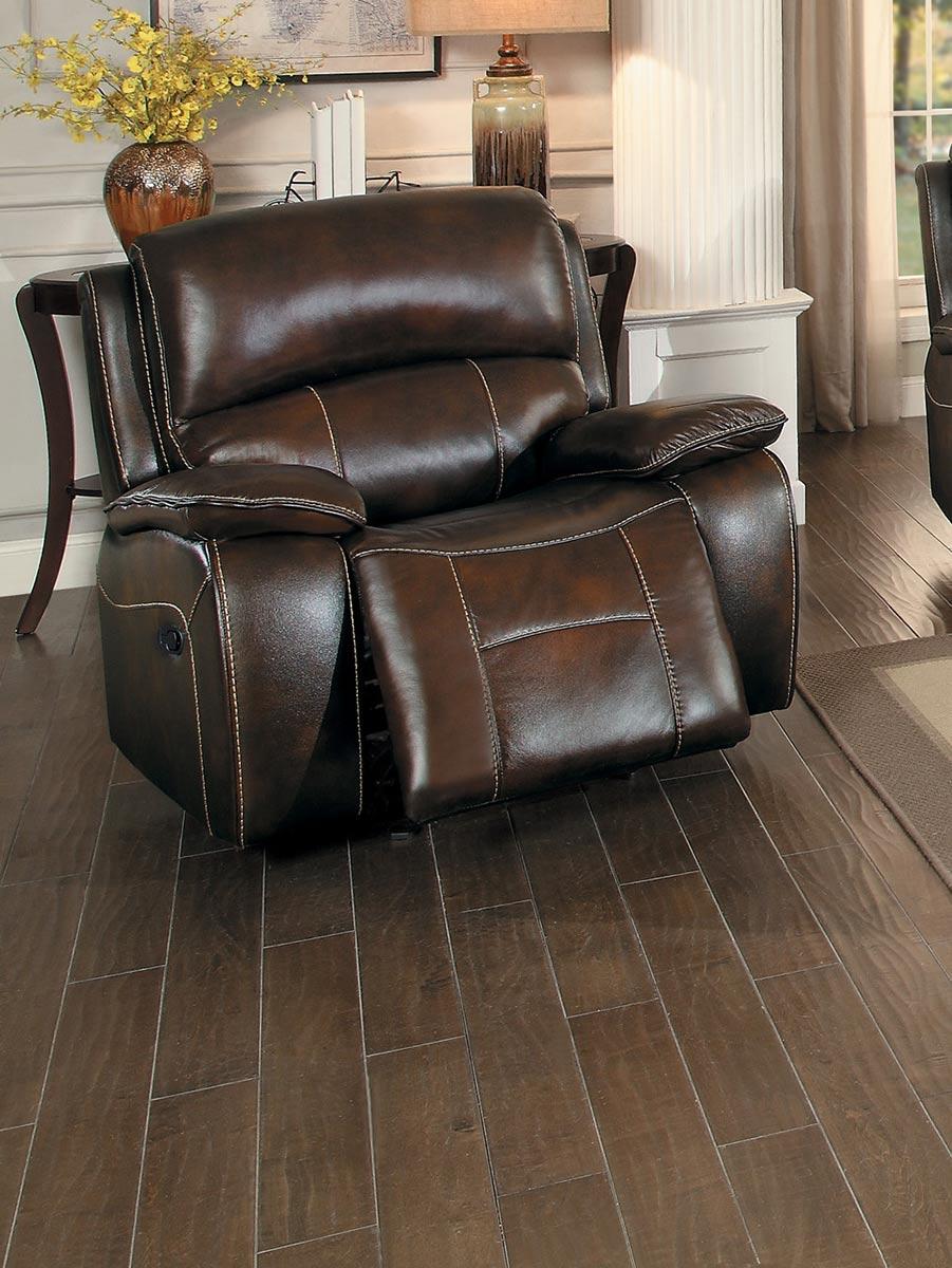 Homelegance Mahala Reclining Sofa Set - Brown Top Grain ...