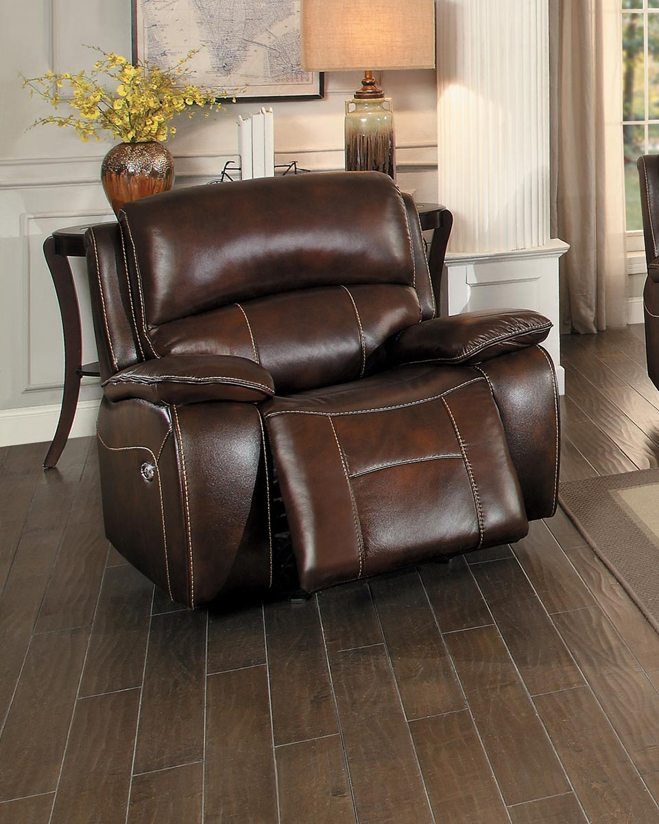 Homelegance Mahala Power Reclining Chair - Brown Top Grain Leather Match