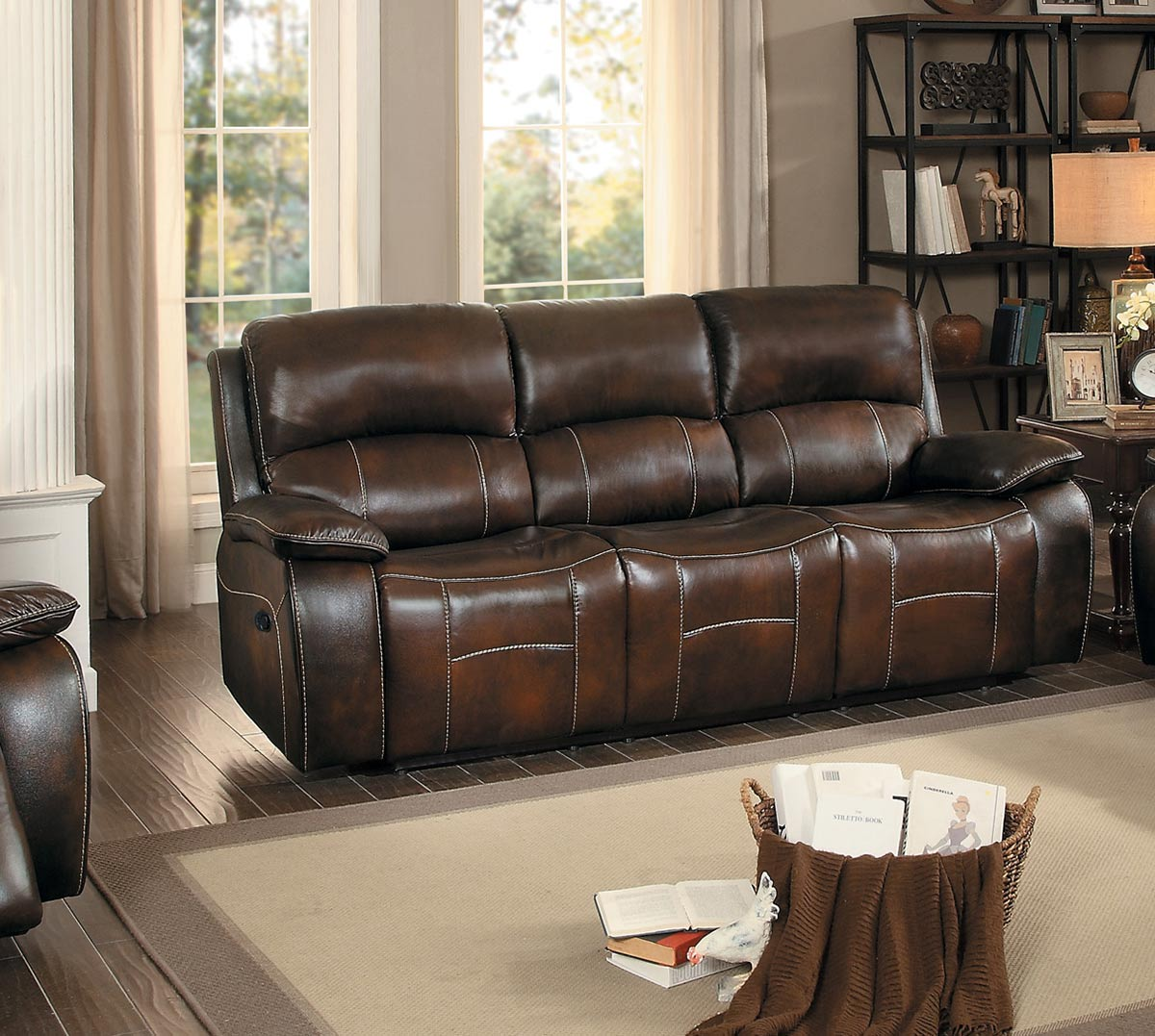 Homelegance mahala double reclining sofa brown top grain for Double leather sofa
