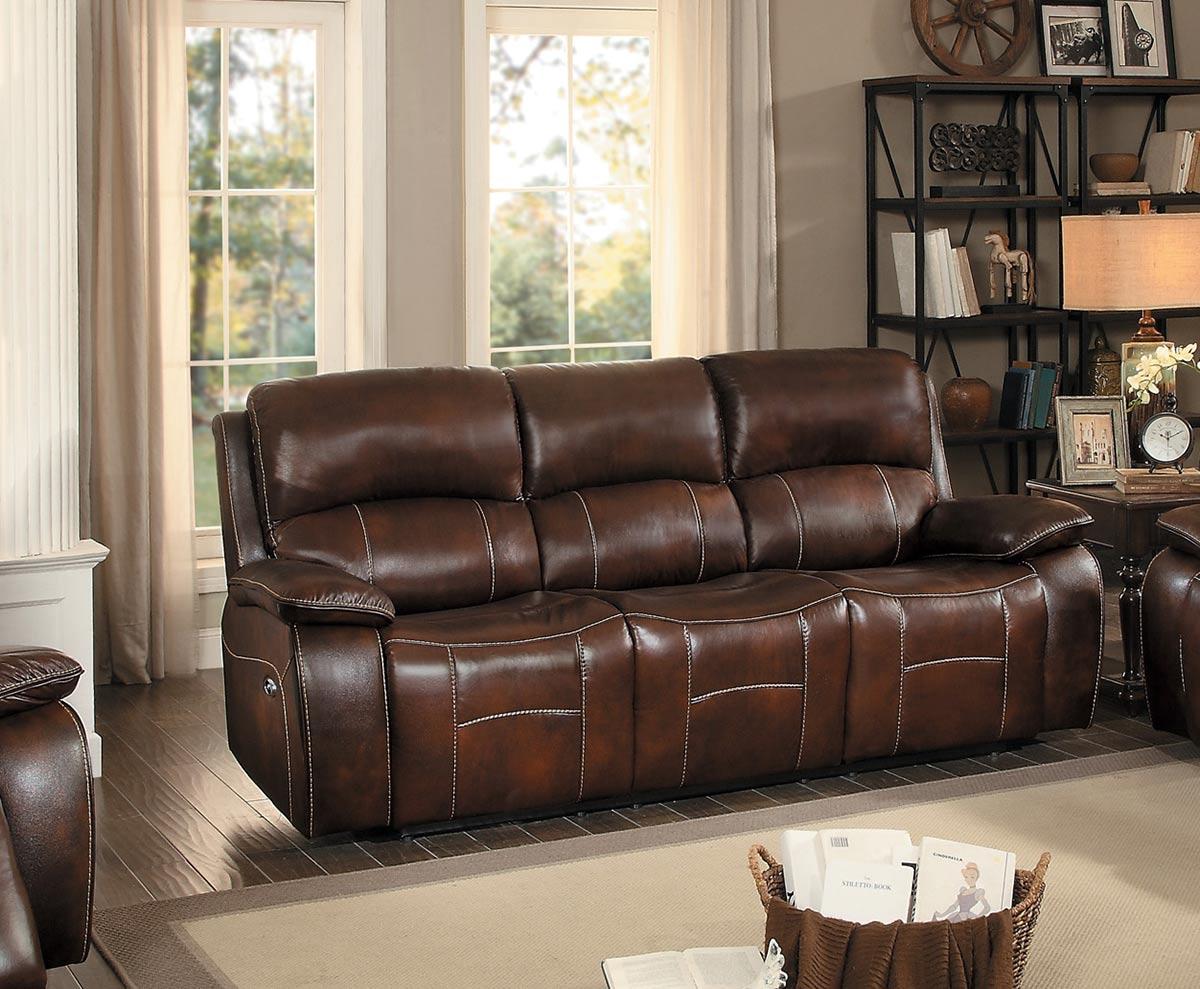 Homelegance Mahala Power Double Reclining Sofa - Brown Top Grain Leather Match