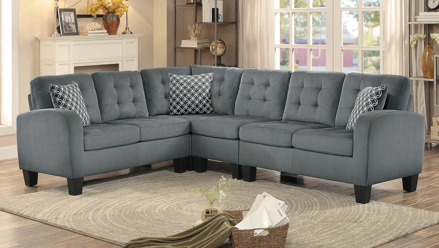 Homelegance sinclair reversible sectional sofa gray - Cheap living room furniture toronto ...