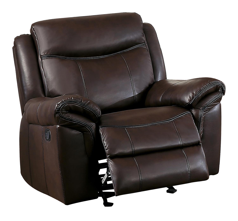 Homelegance Aram Glider Reclining Chair - Dark Brown AireHyde Match