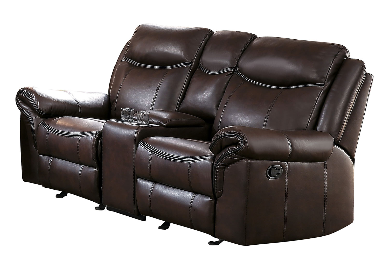 Homelegance Aram Double Glider Reclining Love Seat with Center Console and Receptacles - Dark Brown AireHyde Match