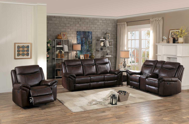 Homelegance Aram Reclining Sofa Set - Dark Brown AireHyde Match