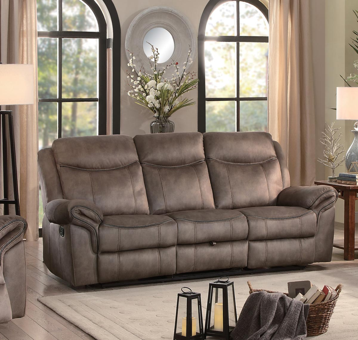 Homelegance Aram Double Reclining Sofa with Drop-Down ...
