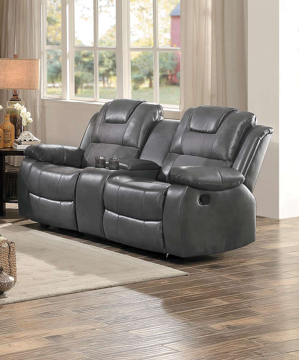 B751 Transitional Reclining Sectional With Storage Console: Homelegance Taye Double Glider Reclining Love Seat With