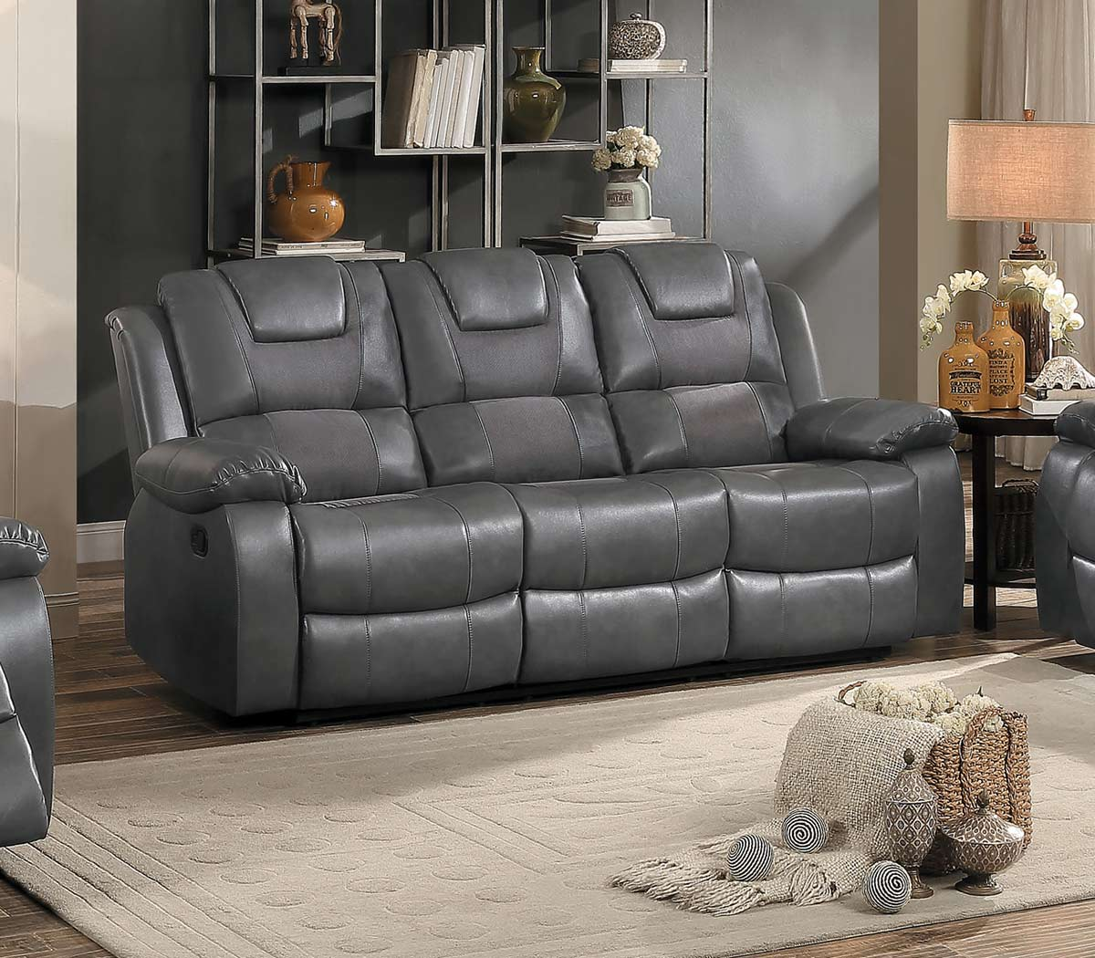 Homelegance taye reclining sofa set gray leather gel for Grey double divan