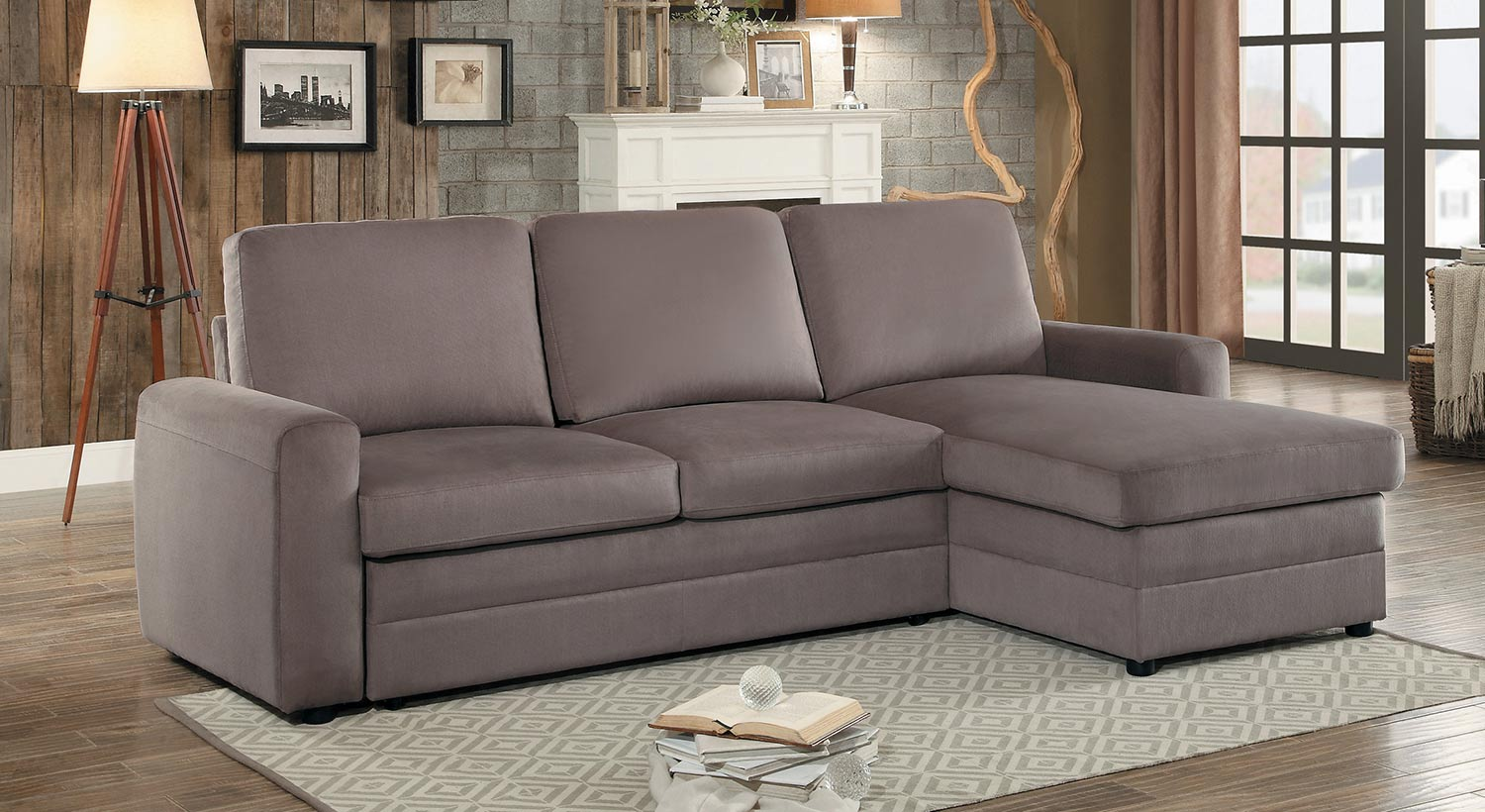 Homelegance Welty Reversible Sleeper Sectional with Hidden Storage - Fossil Fabric
