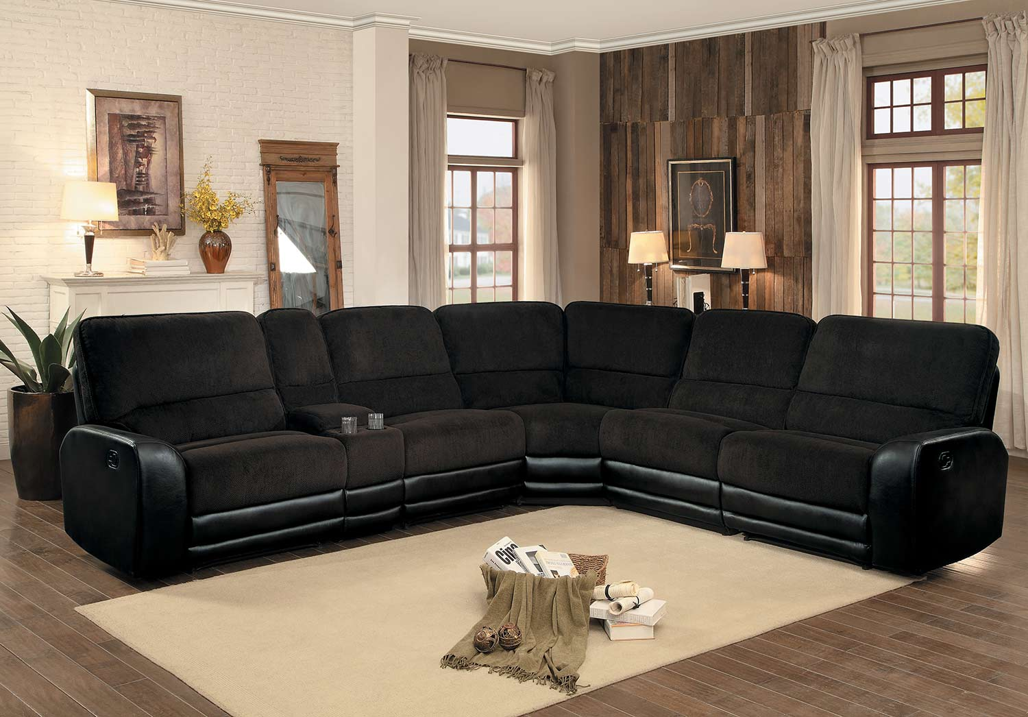 homelegance ynez reclining sectional set chocolate fabric leather gel 8212 sectional set at. Black Bedroom Furniture Sets. Home Design Ideas