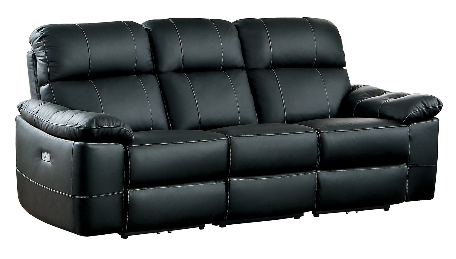 Homelegance nicasio power double reclining sofa black for Double leather sofa