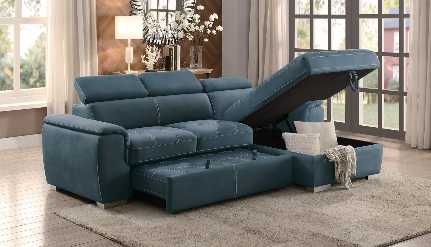 Homelegance Ferriday Reversible Sleeper Sectional With Hidden Storage Blue Fabric
