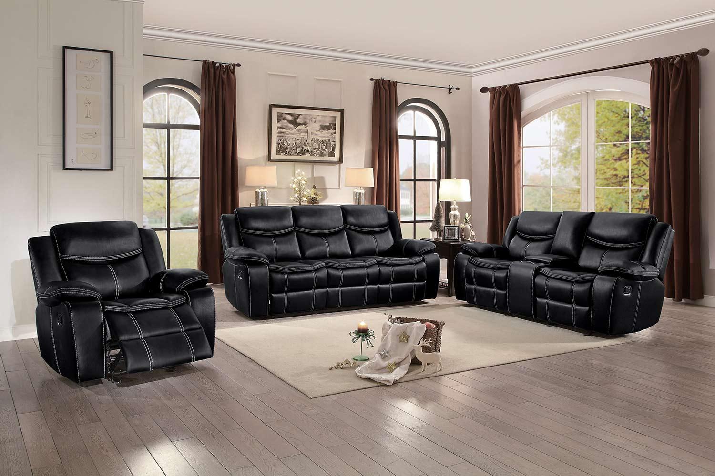 Homelegance Bastrop Reclining Sofa Set - Black Leather Gel Match