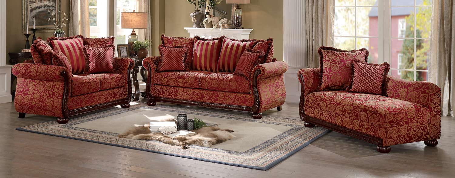 Homelegance Grande Isle Sofa Set Red Printed Fabric