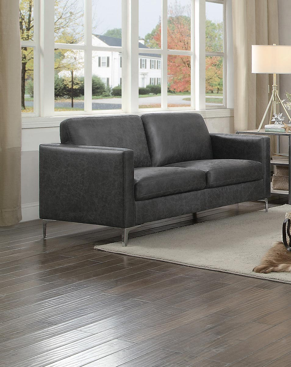 Homelegance Breaux Love Seat - Gray Fabric
