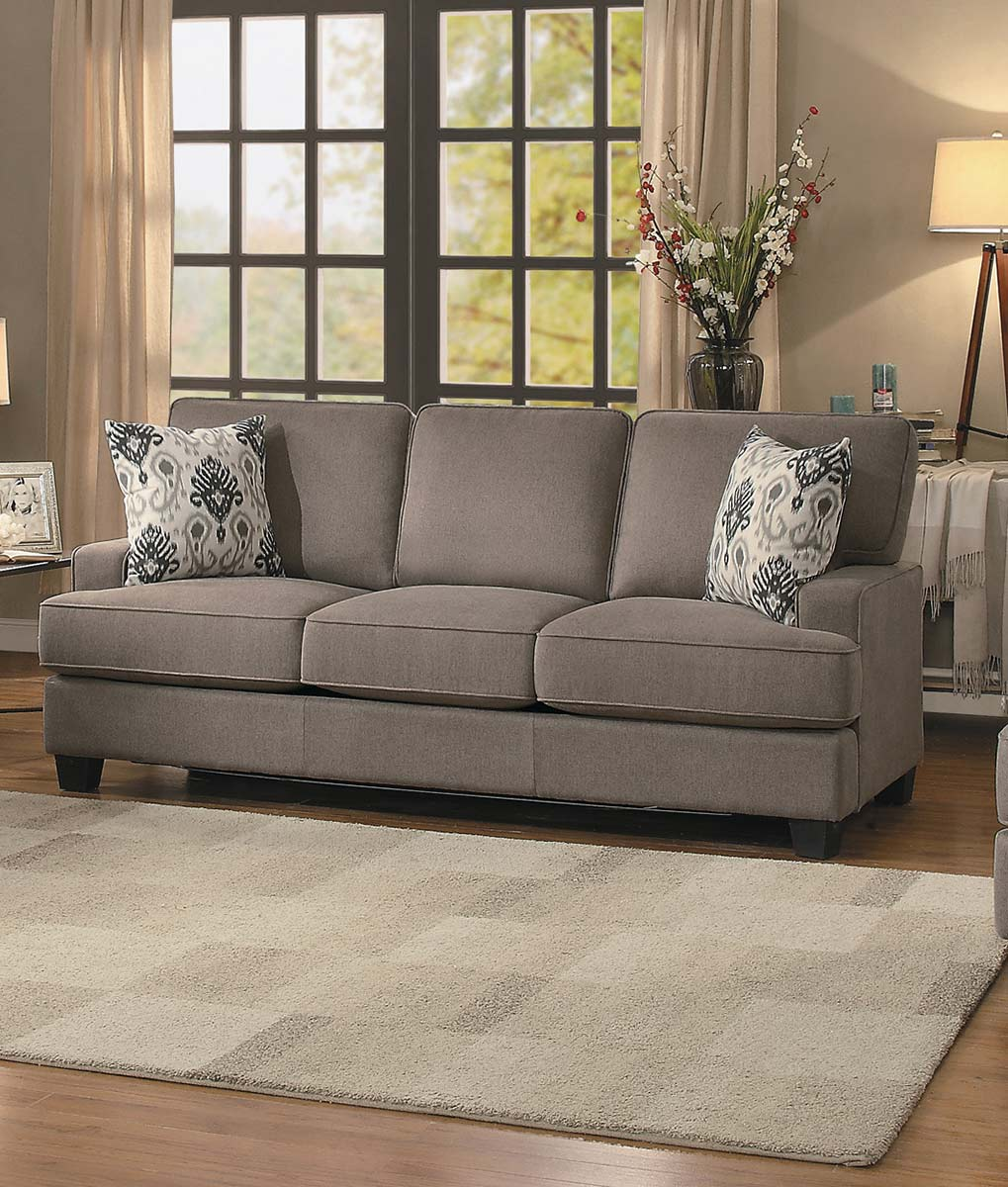 Homelegance kenner sofa brown fabric 8245br 3 at for Home decor kenner