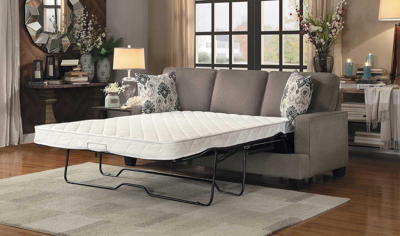 Homelegance kenner sofa sleeper brown fabric 8245br 3sl for Home decor kenner