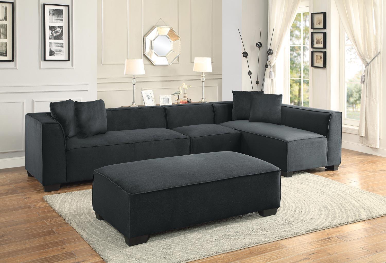 homelegance metz sectional sofa set a polyester graphite 8303 sectional set a at. Black Bedroom Furniture Sets. Home Design Ideas