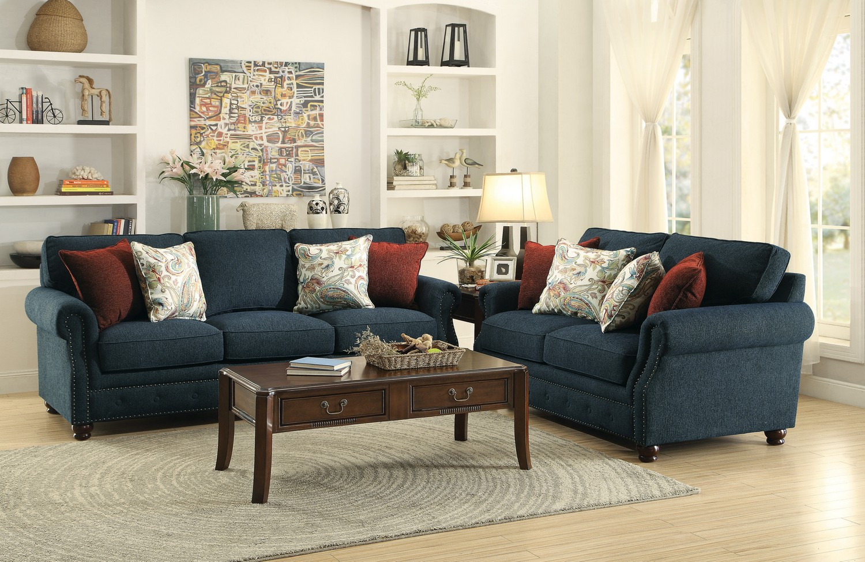 Homelegance Summerson Sofa Set Polyester Navy 8305fa