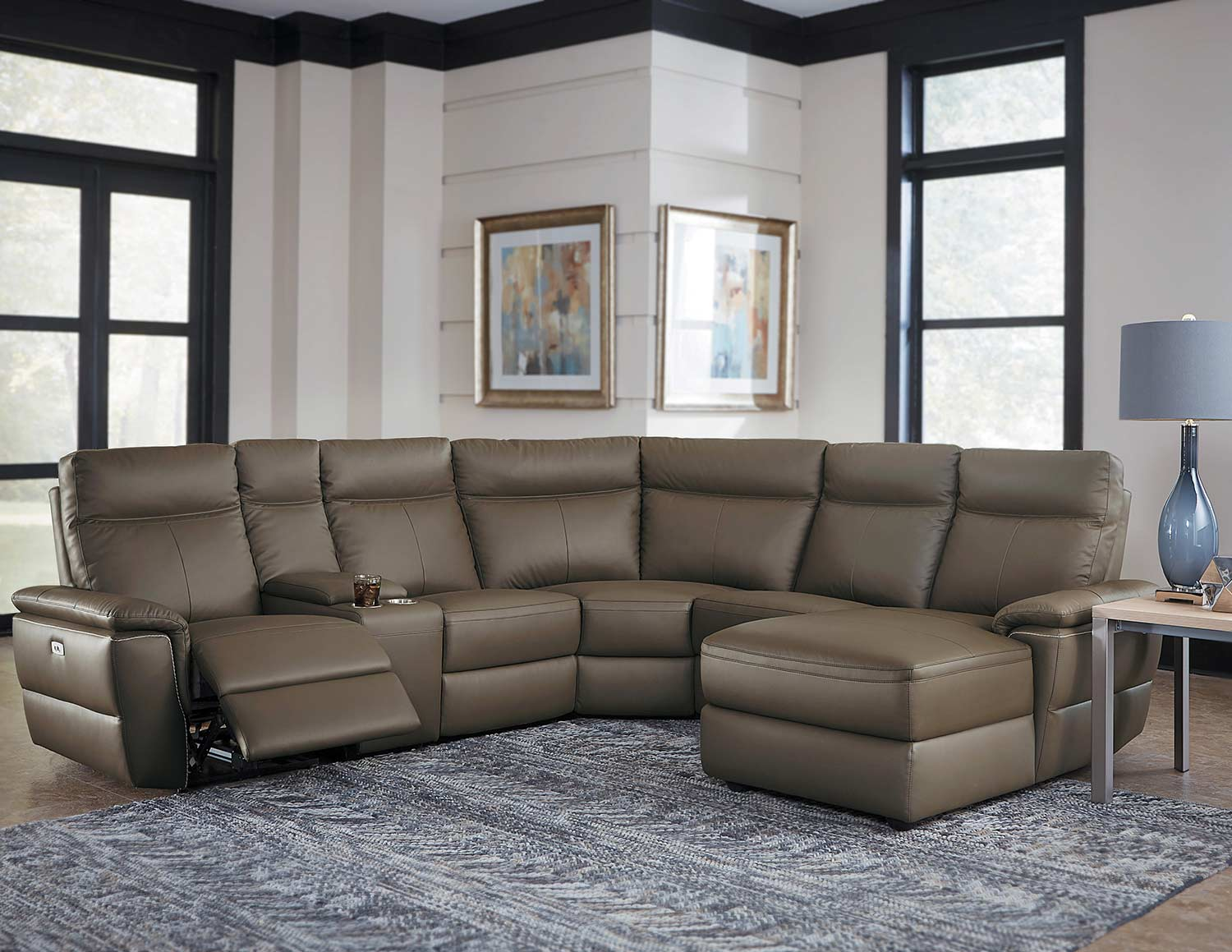 Homelegance Olympia Reclining Sectional Set - Raisin Top Grain Leather Match
