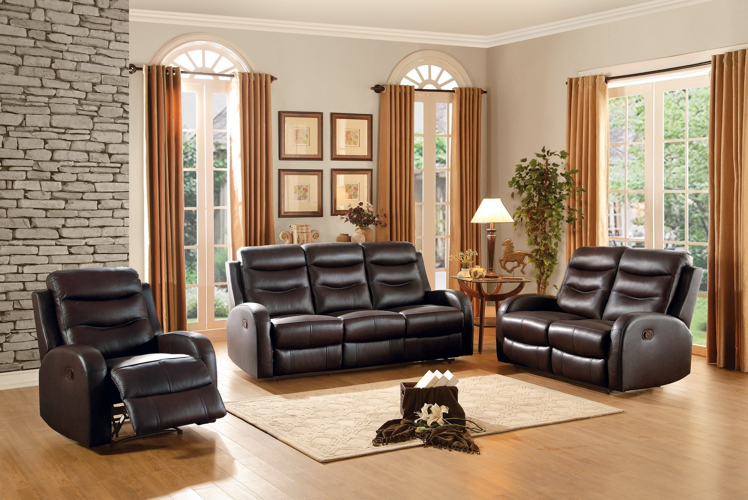 Homelegance Coppins Reclining Sofa Set - Top Grain Leather Match - Chocolate