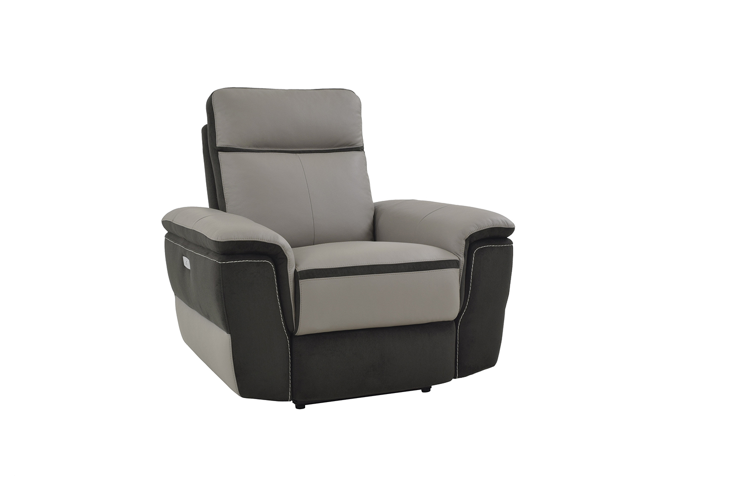 Homelegance Laertes Power Reclining Chair - Taupe Grey Top Grain Leather/Fabric