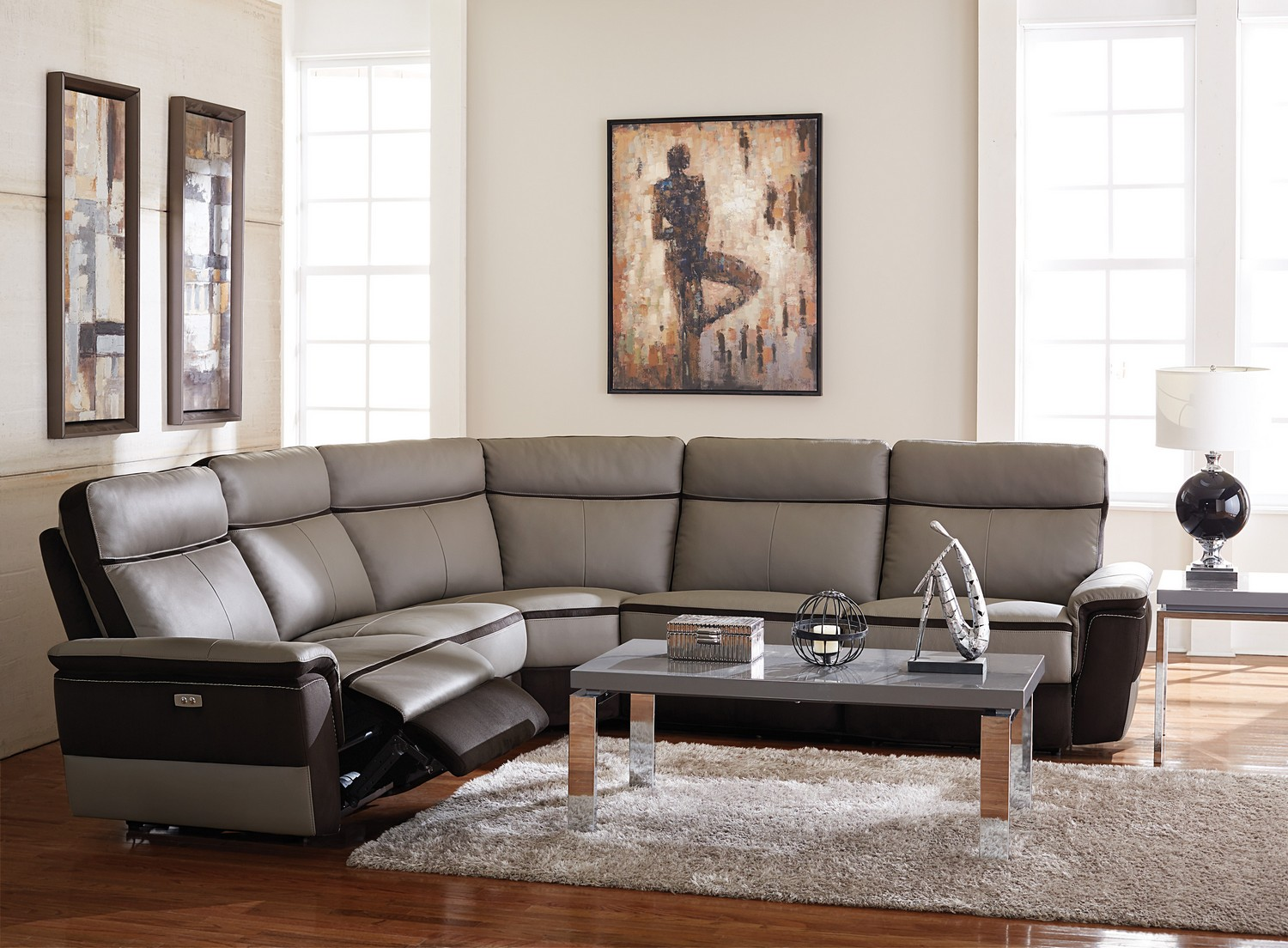 homelegance laertes power reclining sectional sofa set top grain leather fabric taupe grey. Black Bedroom Furniture Sets. Home Design Ideas
