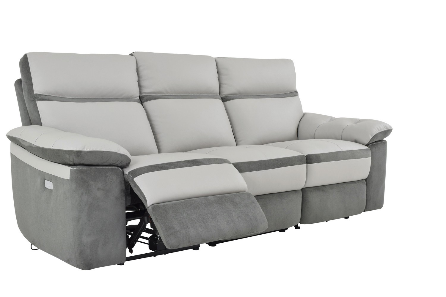 Homelegance otto power double reclining sofa top grain for Light gray leather sofa