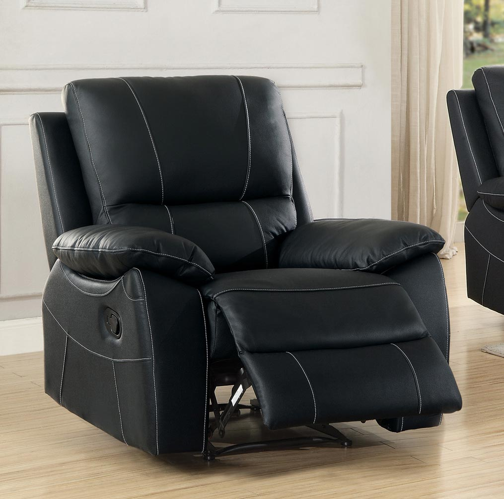 Homelegance Greeley Reclining Chair - Top Grain Leather Match - Black