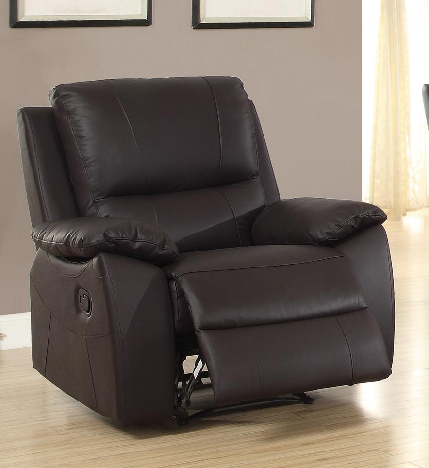 Homelegance Greeley Reclining Chair - Top Grain Leather Match - Brown