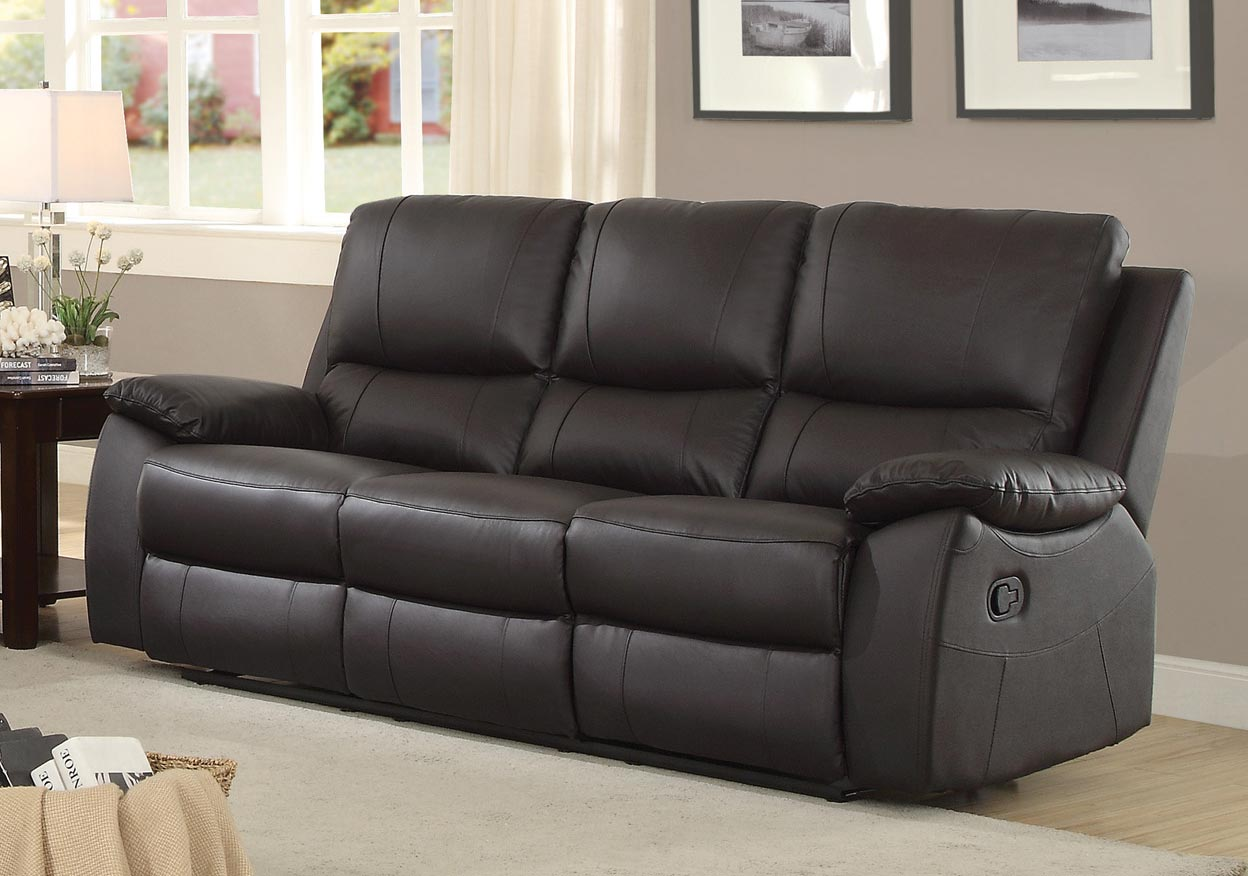 Homelegance Greeley Double Reclining Sofa   Top Grain Leather Match   Brown
