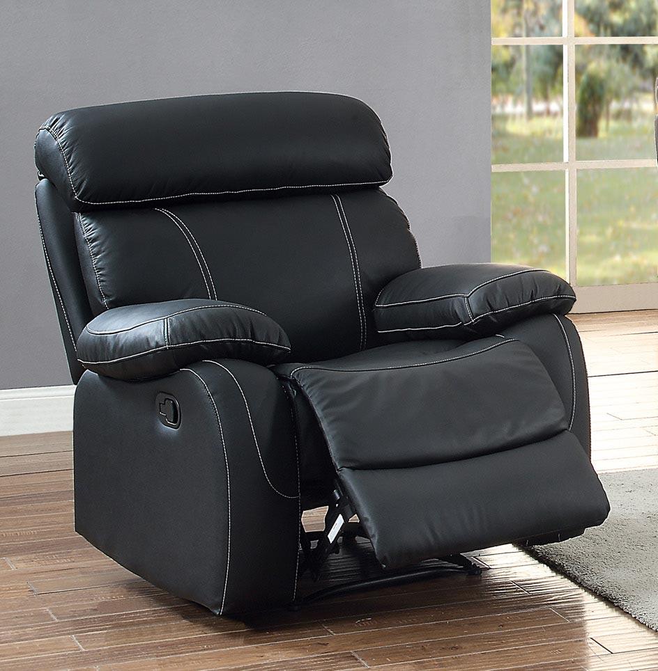 Homelegance Pendu Reclining Chair - Top Grain Leather Match - Black