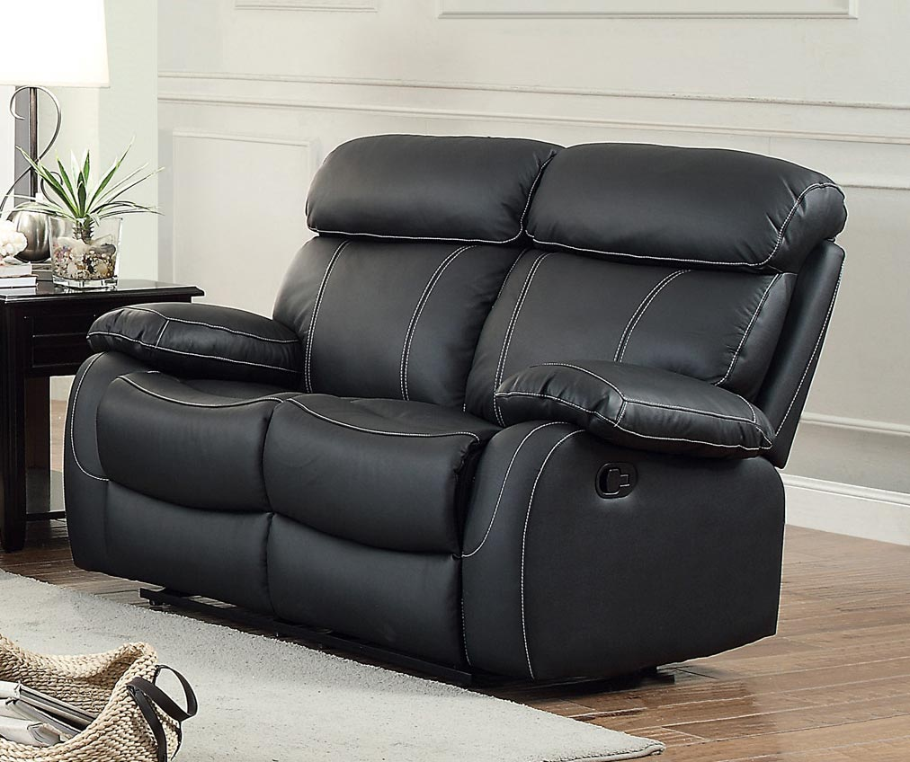 Homelegance Pendu Double Reclining Love Seat - Top Grain Leather Match - Black
