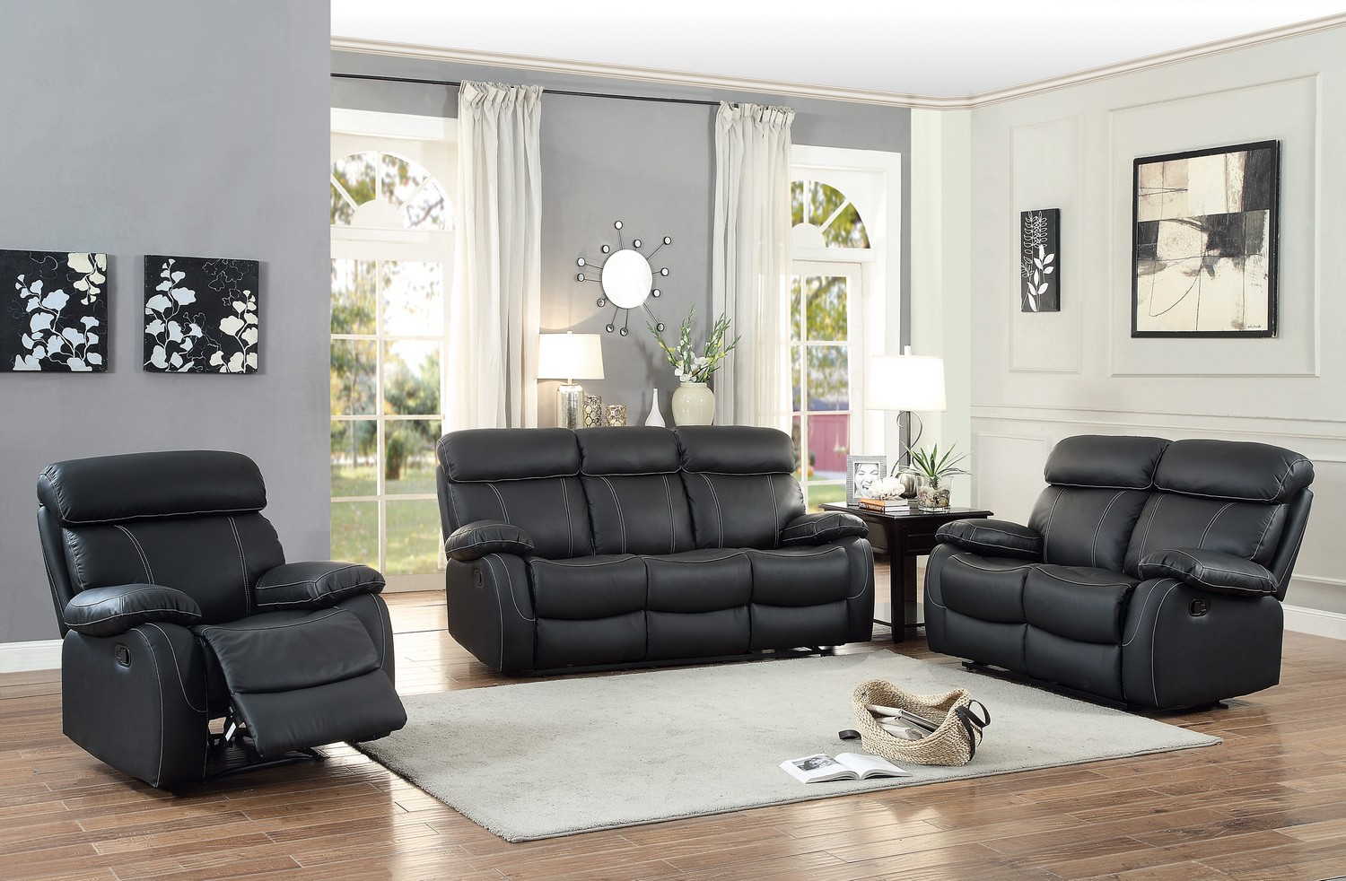 Homelegance pendu reclining sofa set top grain leather for Matching living room furniture sets