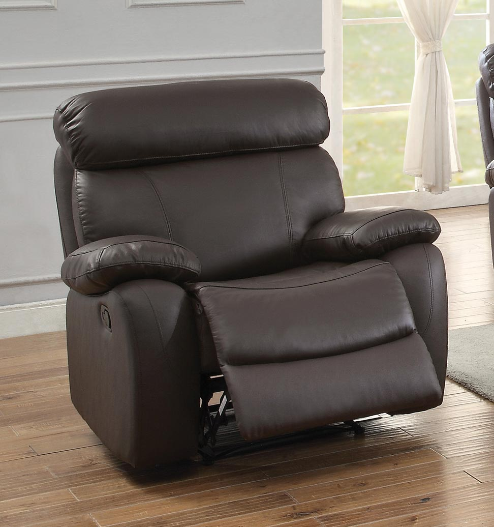 Homelegance Pendu Reclining Chair - Top Grain Leather Match - Brown