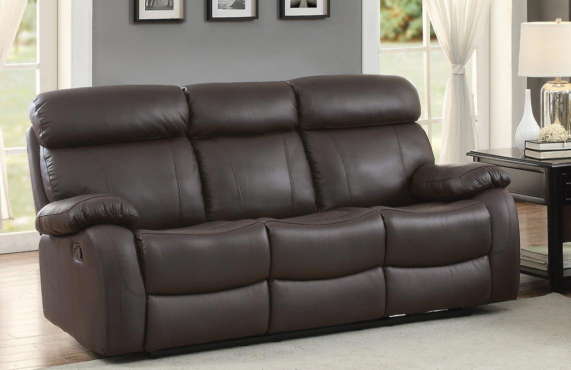 Homelegance Pendu Double Reclining Sofa - Top Grain Leather Match - Brown