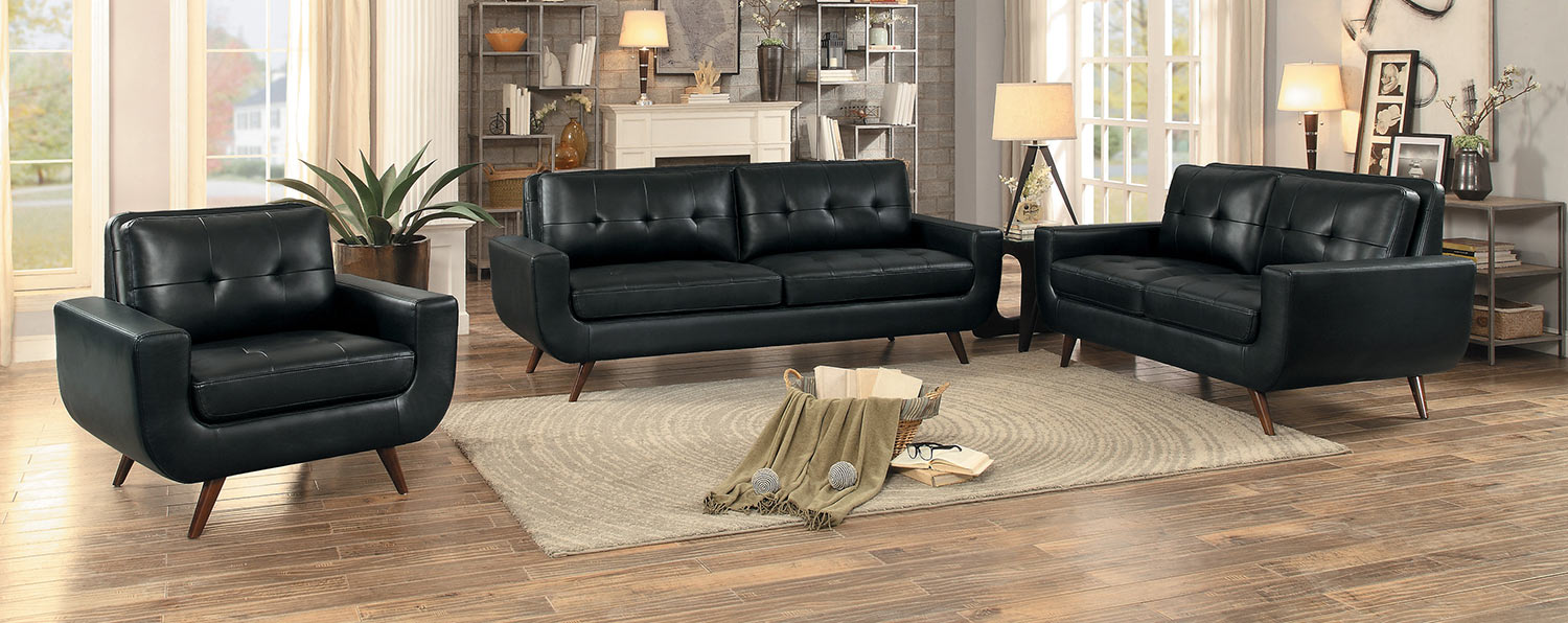 Homelegance Deryn Sofa Set - Black Leather Gel Match