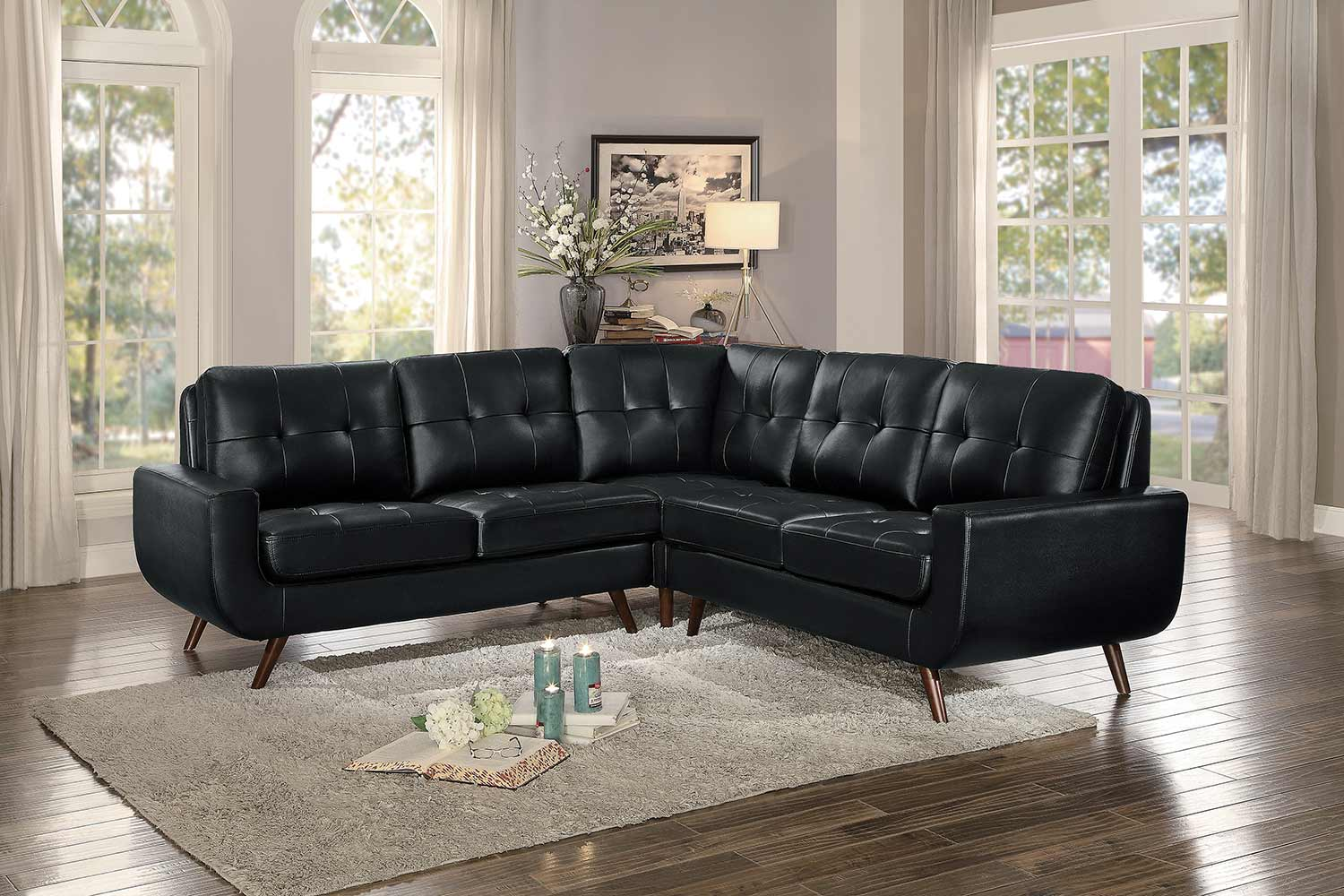 Homelegance Deryn Sectional Sofa - Black Leather Gel Match