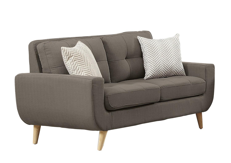 Homelegance Deryn Love Seat - Polyester - Grey