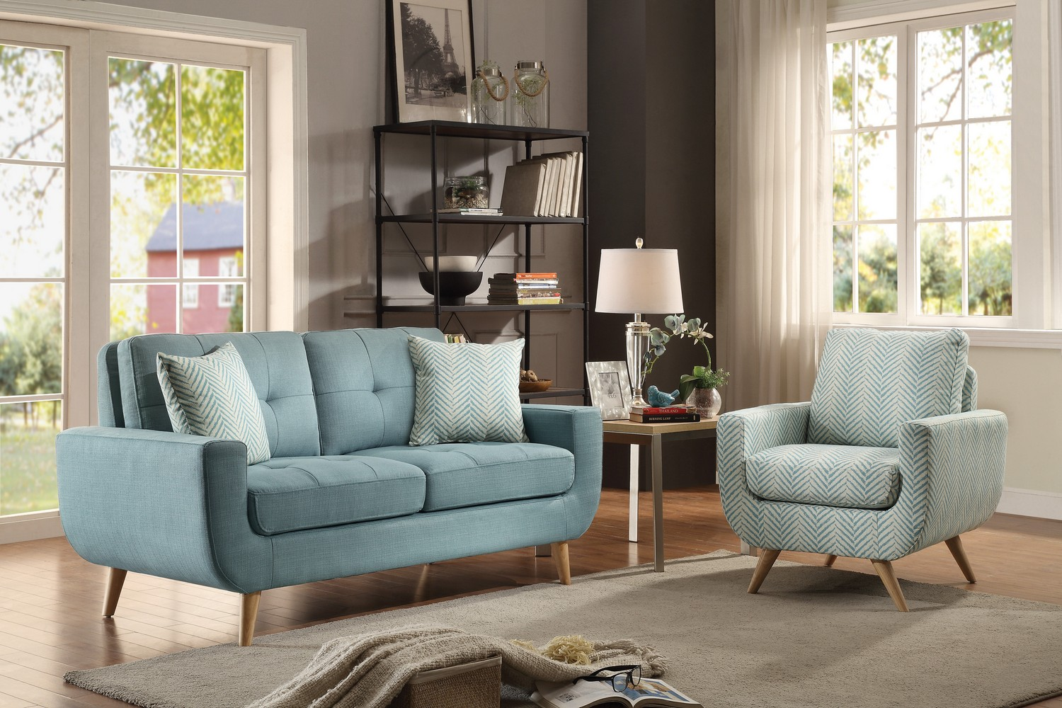 Homelegance Deryn Sofa Set - Polyester - Teal