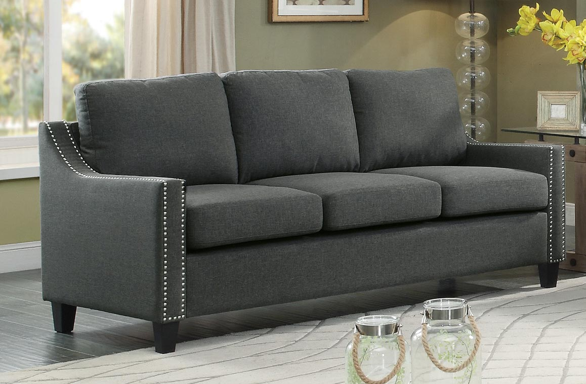 Homelegance Pagosa Sofa Polyester Dark Grey 8328 3 At
