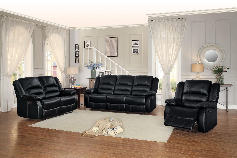 Homelegance Jarita Reclining Sofa Set - Bi-Cast Vinyl - Black
