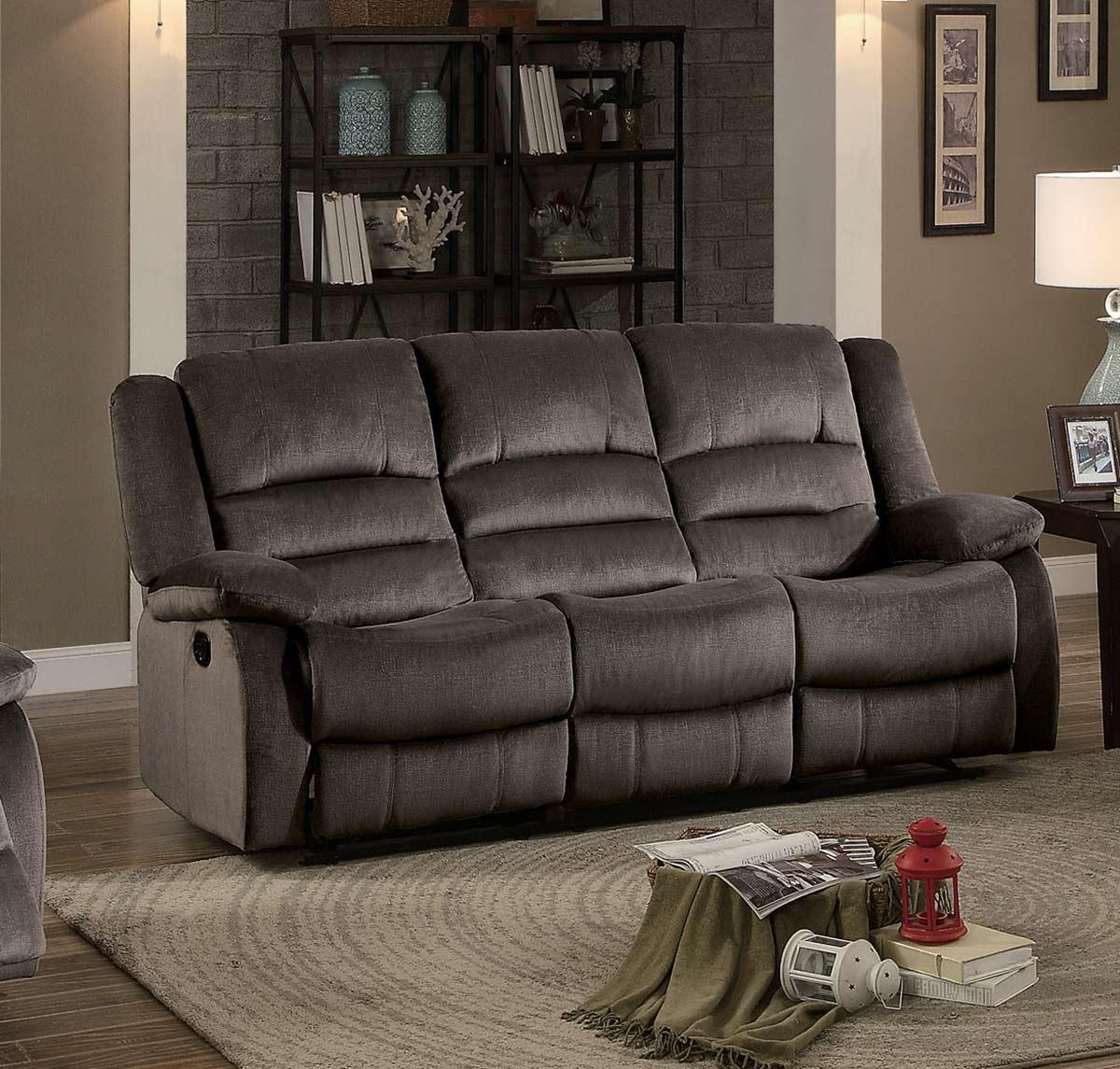 Homelegance Jarita Double Reclining Sofa - Chocolate Fabric