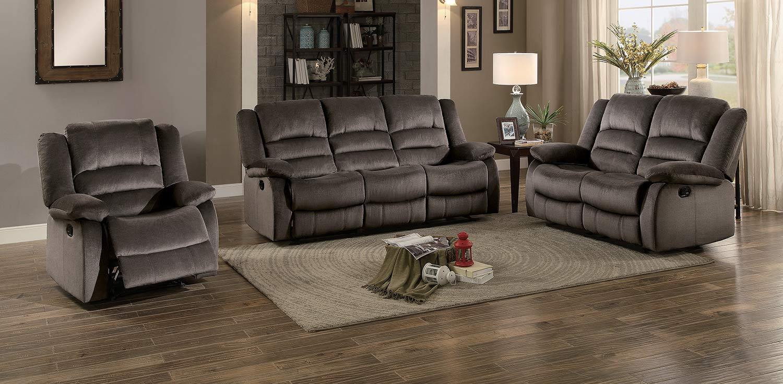 Homelegance Jarita Reclining Sofa Set - Chocolate Fabric